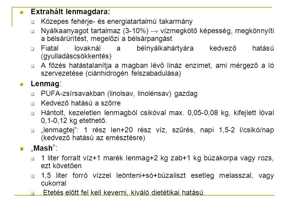 """Egyéb takarmányok, premixek Premix  Vitamin és/vagy ásványianyag kiegészítés Lótáp és takarmánykeverék:  Granulált kiszerelés (4-12 mm átmérő) – abrakhelyettesítő  Pogácsa forma (versenylovak) - kiegészítés nélkül, önmagában is etethető """"Müzli :  táp+gabonapelyhek (és/vagy egyéb anyagok pl."""