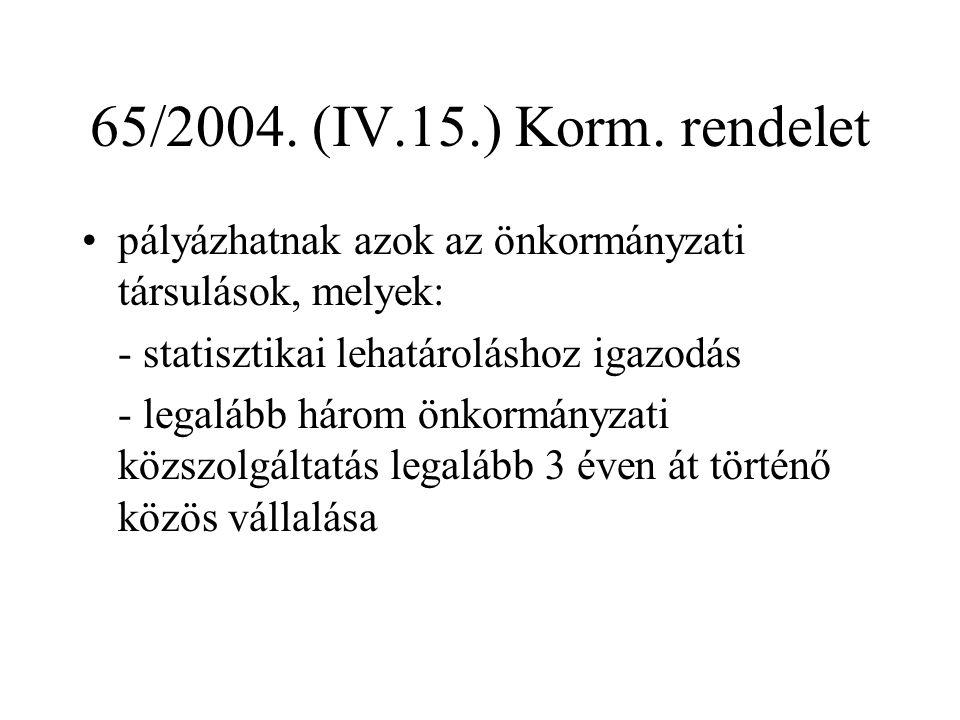 65/2004. (IV.15.) Korm. rendelet pályázhatnak azok az önkormányzati társulások, melyek: - statisztikai lehatároláshoz igazodás - legalább három önkorm