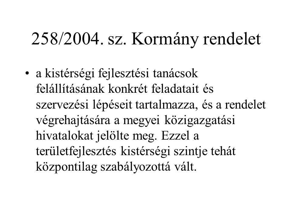 258/2004. sz. Kormány rendelet a kistérségi fejlesztési tanácsok felállításának konkrét feladatait és szervezési lépéseit tartalmazza, és a rendelet v