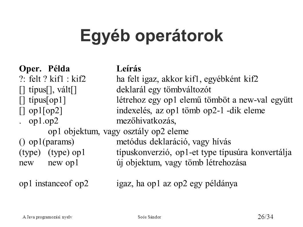 A Java programozási nyelvSoós Sándor 26/34 Egyéb operátorok Oper.PéldaLeírás ?:felt ? kif1 : kif2ha felt igaz, akkor kif1, egyébként kif2 []típus[], v