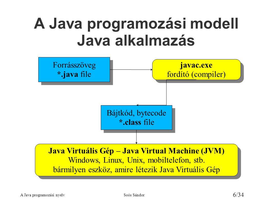 A Java programozási nyelvSoós Sándor 7/34 A Java programozási modell Java kisalkalmazás (Applet) Forrásszöveg *.java file Forrásszöveg *.java file javac.exe fordító (compiler) javac.exe fordító (compiler) Bájtkód, bytecode *.class file Bájtkód, bytecode *.class file Java kompatibilis böngésző program bármilyen eszköz, amire létezik megfelelő böngésző Java kompatibilis böngésző program bármilyen eszköz, amire létezik megfelelő böngésző