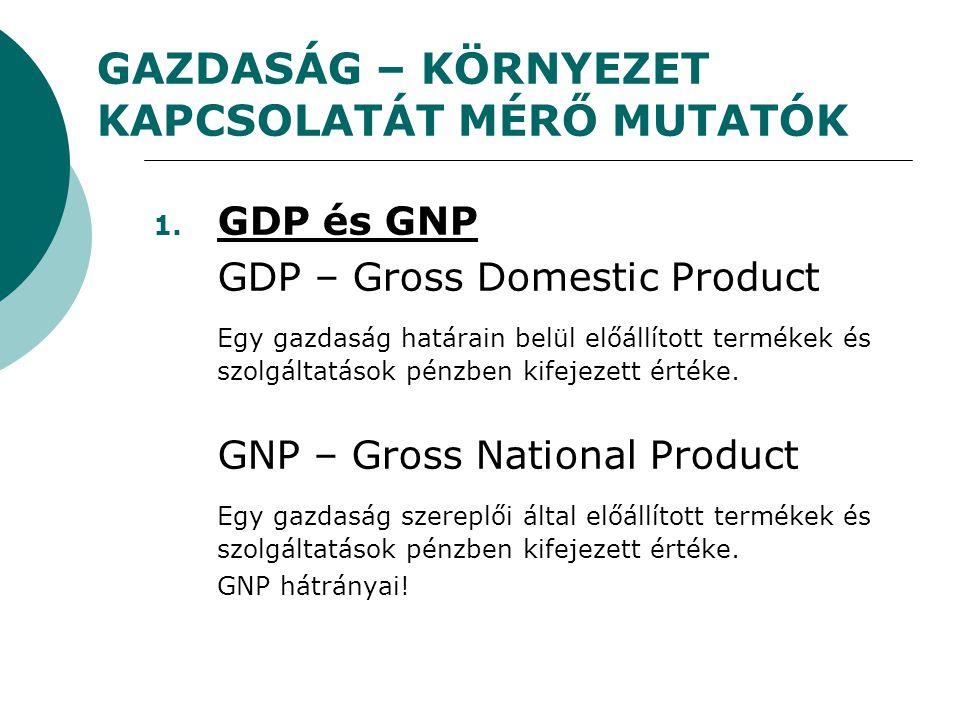 GAZDASÁG – KÖRNYEZET KAPCSOLATÁT MÉRŐ MUTATÓK 1. GDP és GNP GDP – Gross Domestic Product Egy gazdaság határain belül előállított termékek és szolgálta