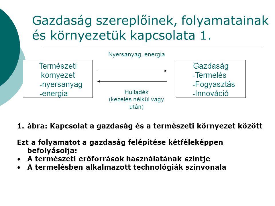 Gazdaság szereplőinek, folyamatainak és környezetük kapcsolata 1. Természeti környezet - nyersanyag - energia Nyersanyag, energia Hulladék (kezelés né