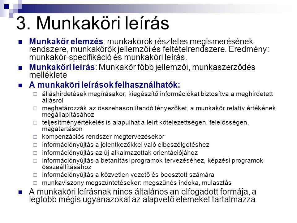 3. Munkaköri leírás Munkakör elemzés: munkakörök részletes megismerésének rendszere, munkakörök jellemzői és feltételrendszere. Eredmény: munkakör-spe