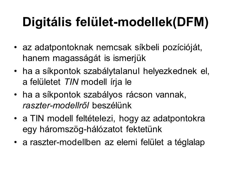 Digitális felület-modellek(DFM) az adatpontoknak nemcsak síkbeli pozícióját, hanem magasságát is ismerjük ha a síkpontok szabálytalanul helyezkednek el, a felületet TIN modell írja le ha a síkpontok szabályos rácson vannak, raszter-modellről beszélünk a TIN modell feltételezi, hogy az adatpontokra egy háromszög-hálózatot fektetünk a raszter-modellben az elemi felület a téglalap