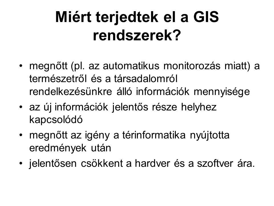 Miért terjedtek el a GIS rendszerek? megnőtt (pl. az automatikus monitorozás miatt) a természetről és a társadalomról rendelkezésünkre álló információ