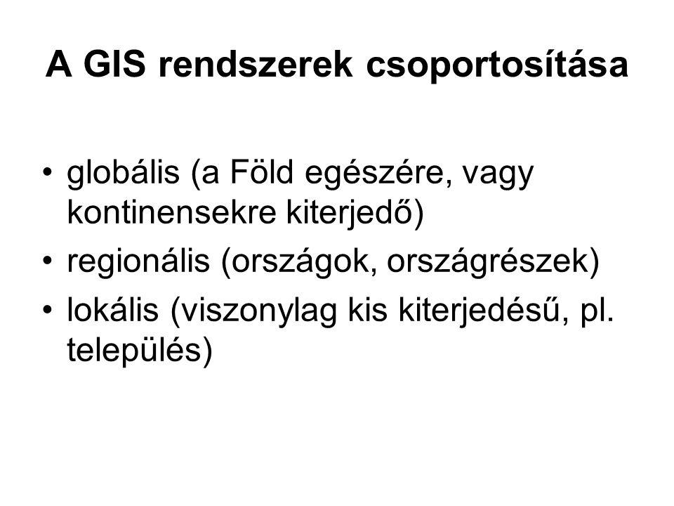 A GIS rendszerek csoportosítása globális (a Föld egészére, vagy kontinensekre kiterjedő) regionális (országok, országrészek) lokális (viszonylag kis kiterjedésű, pl.