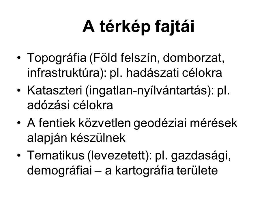 A térkép fajtái Topográfia (Föld felszín, domborzat, infrastruktúra): pl.