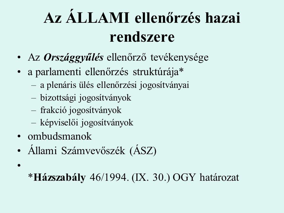 Az ÁLLAMI ellenőrzés hazai rendszere Az Országgyűlés ellenőrző tevékenysége a parlamenti ellenőrzés struktúrája* –a plenáris ülés ellenőrzési jogosítv