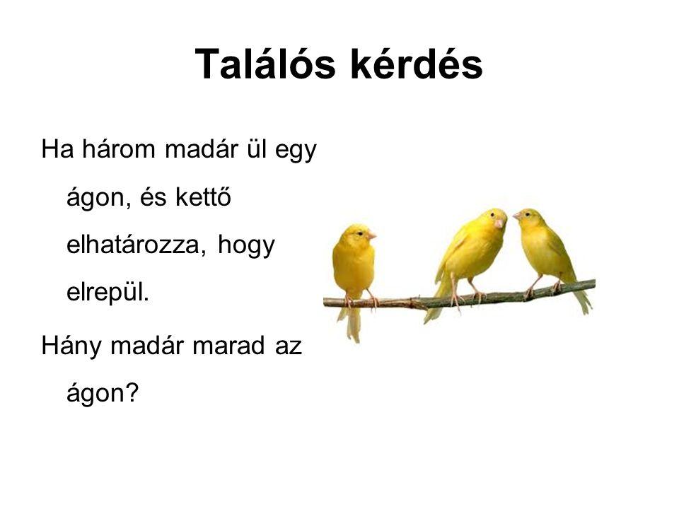 Találós kérdés Ha három madár ül egy ágon, és kettő elhatározza, hogy elrepül. Hány madár marad az ágon?
