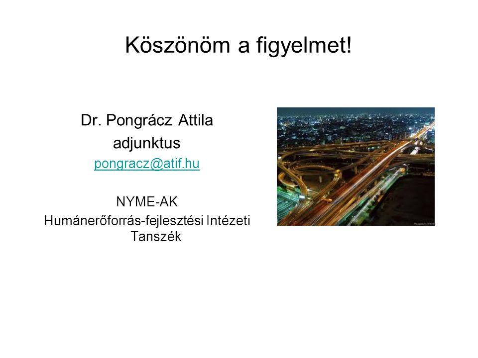 Köszönöm a figyelmet! Dr. Pongrácz Attila adjunktus pongracz@atif.hu NYME-AK Humánerőforrás-fejlesztési Intézeti Tanszék