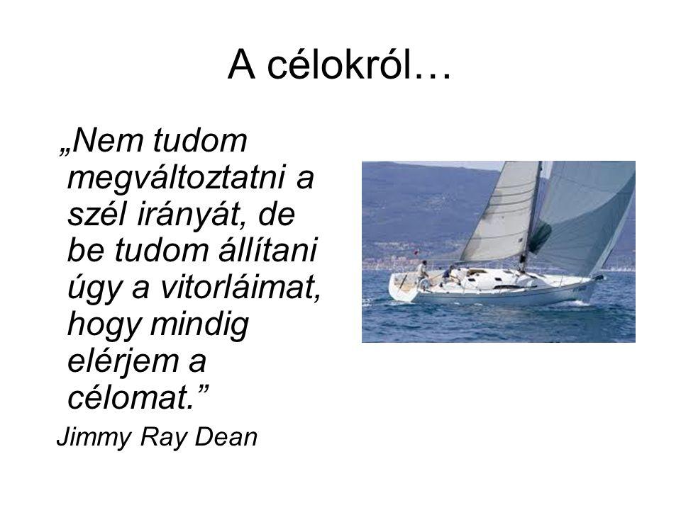 """A célokról… """"Nem tudom megváltoztatni a szél irányát, de be tudom állítani úgy a vitorláimat, hogy mindig elérjem a célomat."""" Jimmy Ray Dean"""