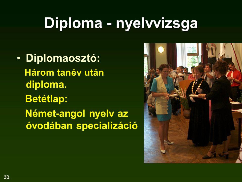 30. Diploma - nyelvvizsga Diplomaosztó: Három tanév után diploma. Betétlap: Német-angol nyelv az óvodában specializáció