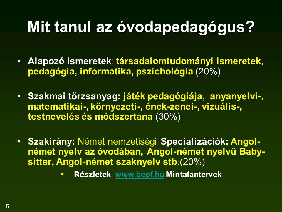5. Mit tanul az óvodapedagógus? Alapozó ismeretek: társadalomtudományi ismeretek, pedagógia, informatika, pszichológia (20%) Szakmai törzsanyag: játék