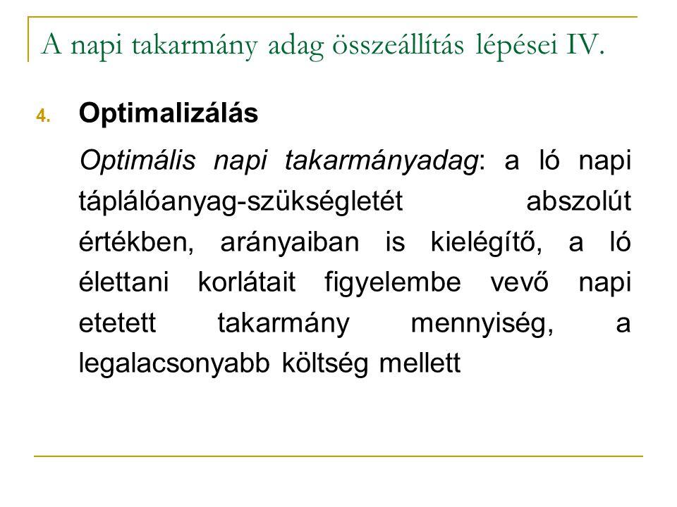 A napi takarmány adag összeállítás lépései IV. 4. Optimalizálás Optimális napi takarmányadag: a ló napi táplálóanyag-szükségletét abszolút értékben, a