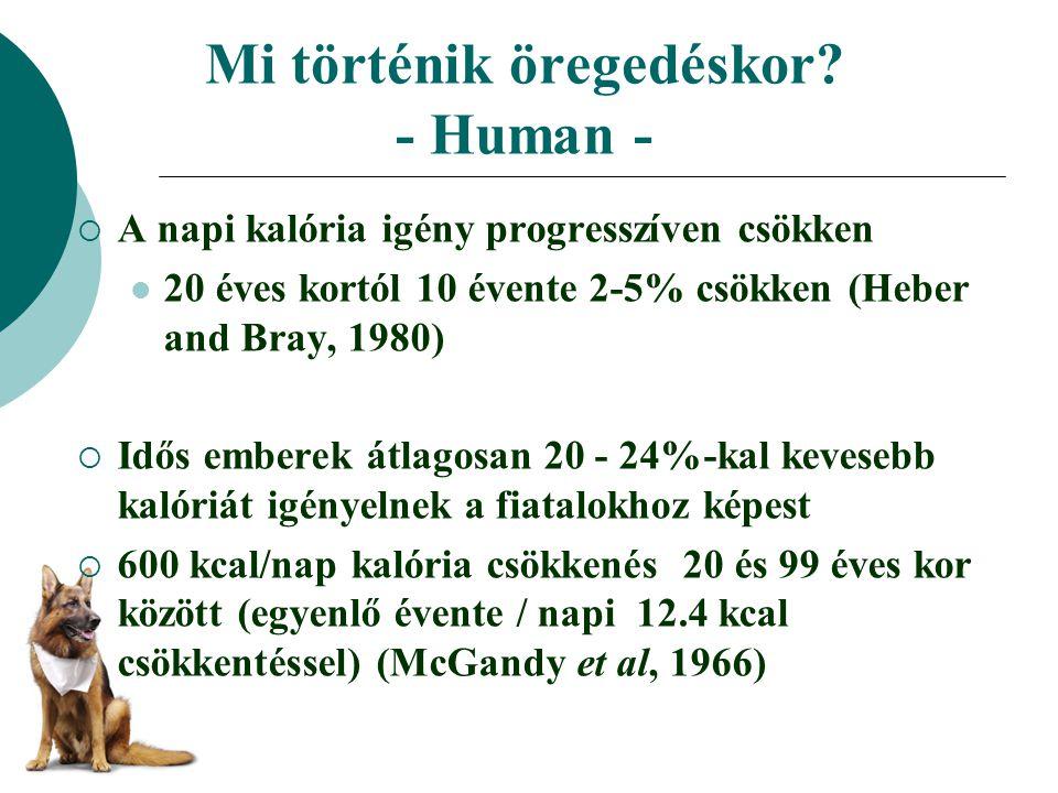 Mi történik öregedéskor? - Human -  A napi kalória igény progresszíven csökken 20 éves kortól 10 évente 2-5% csökken (Heber and Bray, 1980)  Idős em
