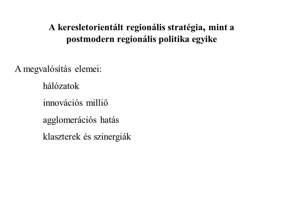 A keresletorientált regionális stratégia, mint a postmodern regionális politika egyike A megvalósítás elemei: hálózatok innovációs milliő agglomerációs hatás klaszterek és szinergiák