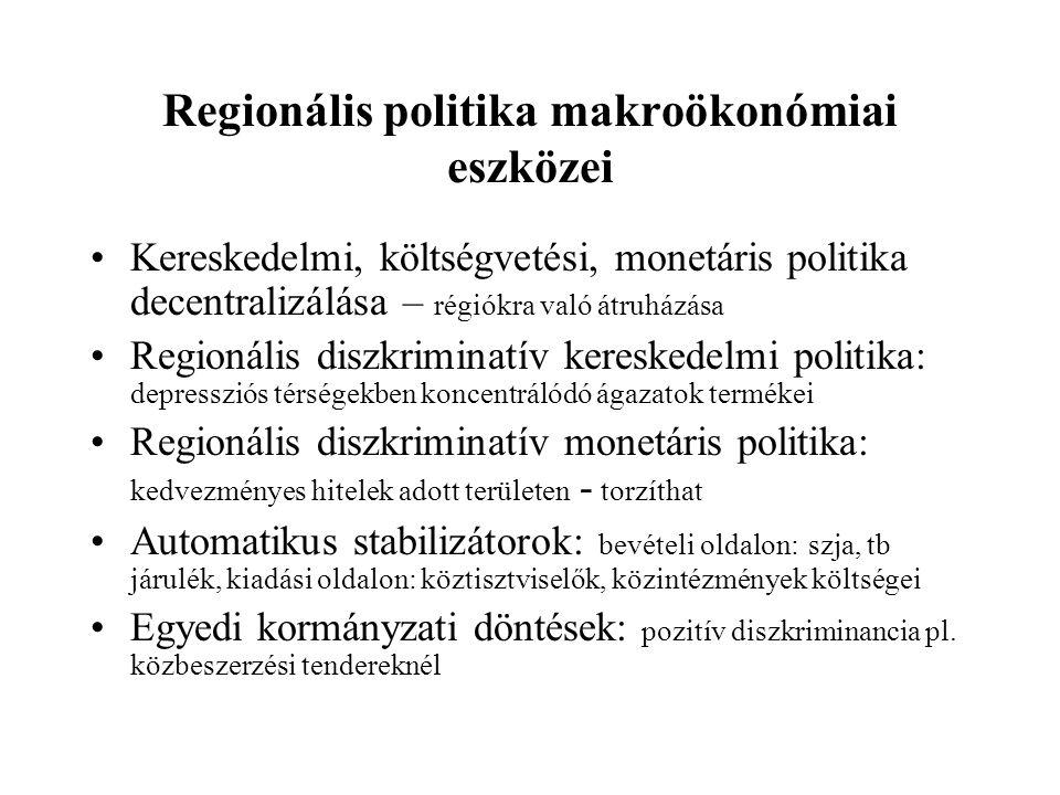 Regionális politika makroökonómiai eszközei Kereskedelmi, költségvetési, monetáris politika decentralizálása – régiókra való átruházása Regionális diszkriminatív kereskedelmi politika: depressziós térségekben koncentrálódó ágazatok termékei Regionális diszkriminatív monetáris politika: kedvezményes hitelek adott területen - torzíthat Automatikus stabilizátorok: bevételi oldalon: szja, tb járulék, kiadási oldalon: köztisztviselők, közintézmények költségei Egyedi kormányzati döntések: pozitív diszkriminancia pl.