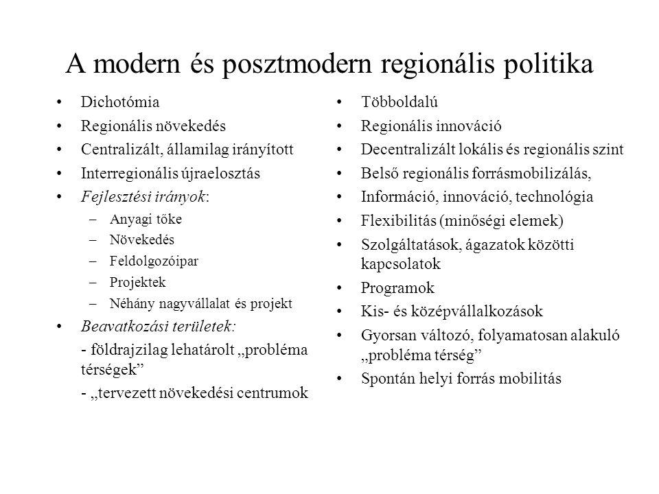 """A modern és posztmodern regionális politika Dichotómia Regionális növekedés Centralizált, államilag irányított Interregionális újraelosztás Fejlesztési irányok: –Anyagi tőke –Növekedés –Feldolgozóipar –Projektek –Néhány nagyvállalat és projekt Beavatkozási területek: - földrajzilag lehatárolt """"probléma térségek - """"tervezett növekedési centrumok Többoldalú Regionális innováció Decentralizált lokális és regionális szint Belső regionális forrásmobilizálás, Információ, innováció, technológia Flexibilitás (minőségi elemek) Szolgáltatások, ágazatok közötti kapcsolatok Programok Kis- és középvállalkozások Gyorsan változó, folyamatosan alakuló """"probléma térség Spontán helyi forrás mobilitás"""