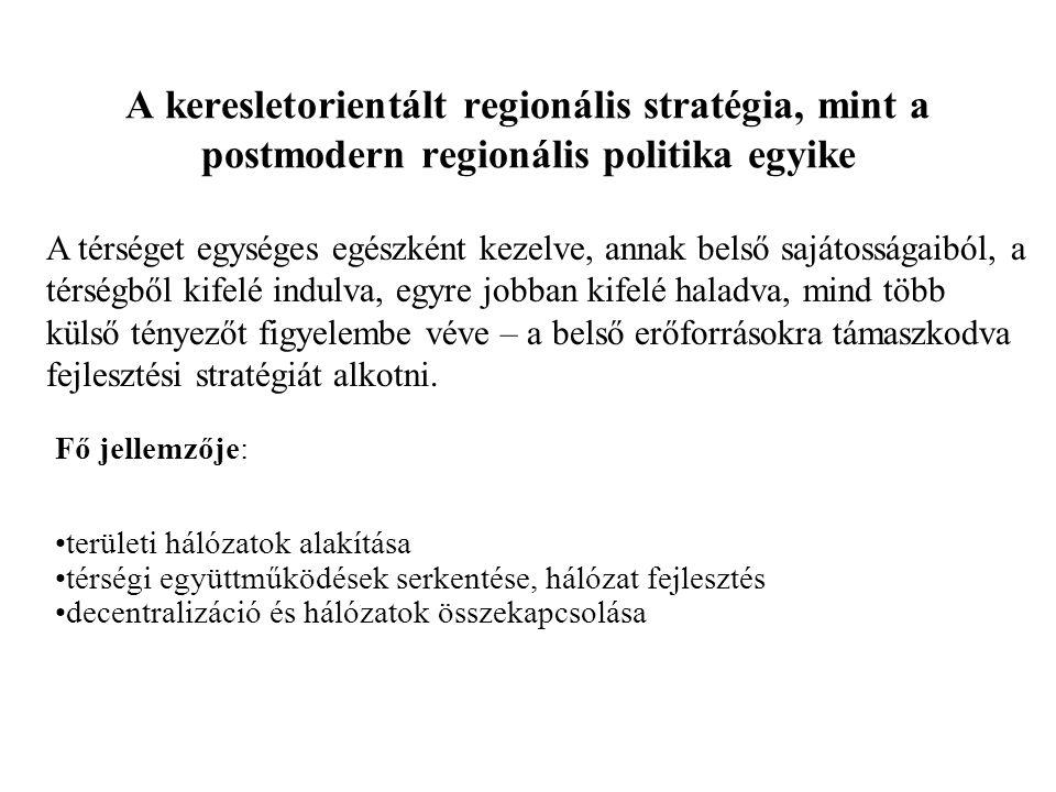 A keresletorientált regionális stratégia, mint a postmodern regionális politika egyike A térséget egységes egészként kezelve, annak belső sajátosságaiból, a térségből kifelé indulva, egyre jobban kifelé haladva, mind több külső tényezőt figyelembe véve – a belső erőforrásokra támaszkodva fejlesztési stratégiát alkotni.