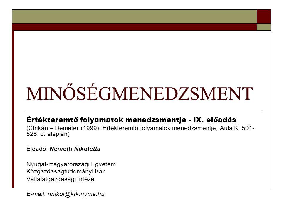 MINŐSÉGMENEDZSMENT Értékteremtő folyamatok menedzsmentje - IX. előadás (Chikán – Demeter (1999): Értékteremtő folyamatok menedzsmentje, Aula K. 501- 5