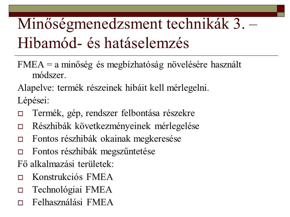 Minőségmenedzsment technikák 3. – Hibamód- és hatáselemzés FMEA = a minőség és megbízhatóság növelésére használt módszer. Alapelve: termék részeinek h
