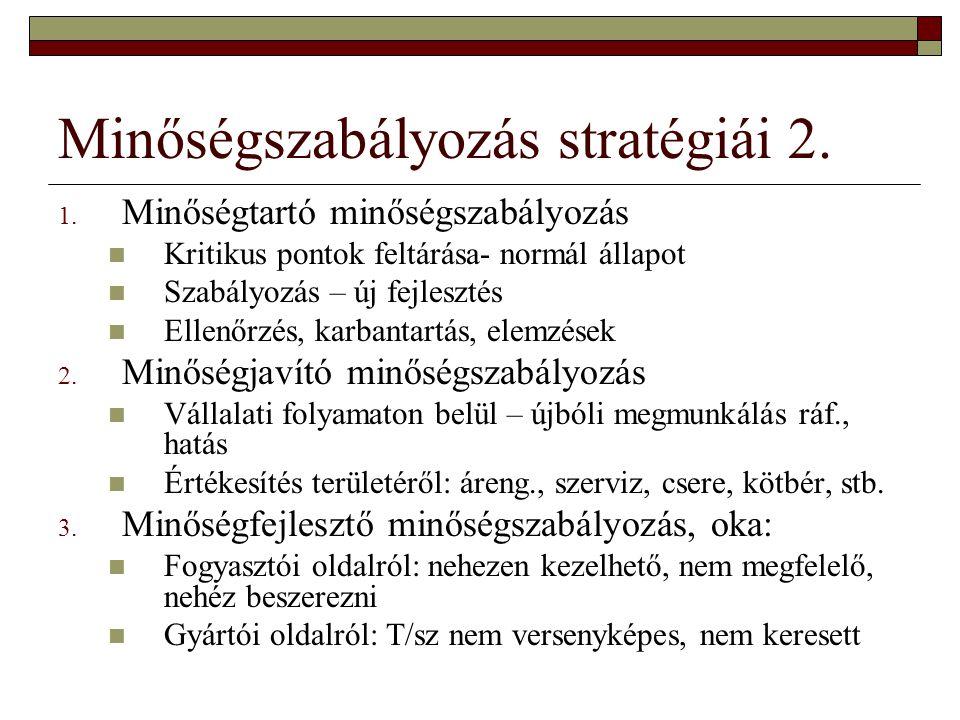 Minőségszabályozás stratégiái 2. 1. Minőségtartó minőségszabályozás Kritikus pontok feltárása- normál állapot Szabályozás – új fejlesztés Ellenőrzés,