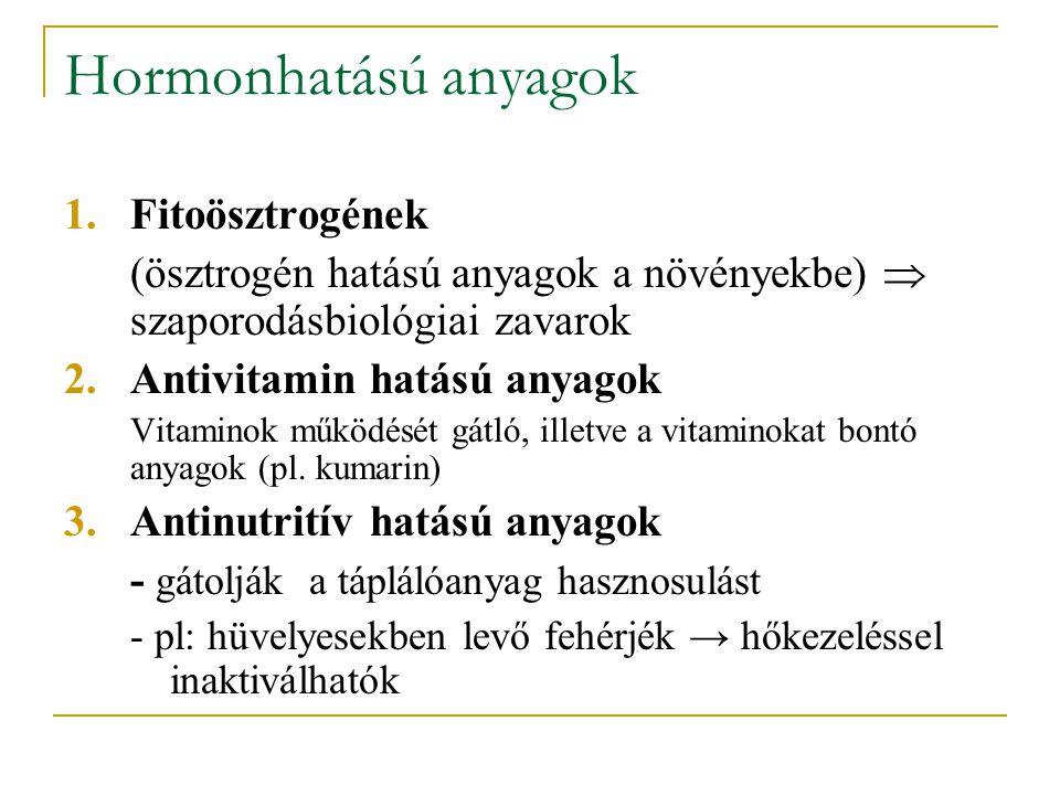 Hormonhatású anyagok 1.Fitoösztrogének (ösztrogén hatású anyagok a növényekbe)  szaporodásbiológiai zavarok 2.Antivitamin hatású anyagok Vitaminok működését gátló, illetve a vitaminokat bontó anyagok (pl.