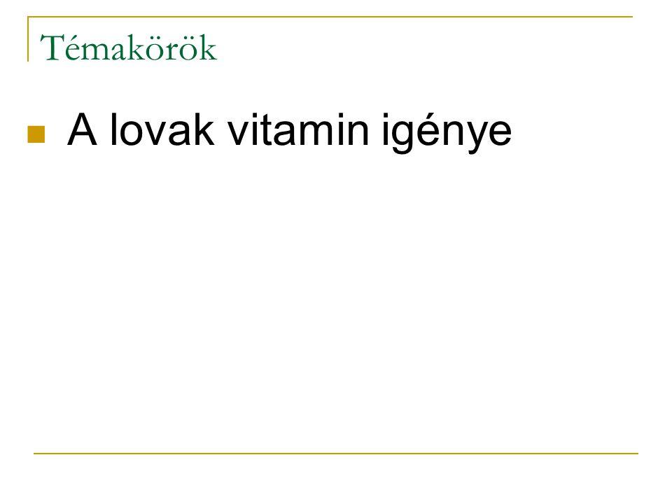 B 6 -vitamin (piridoxin csoport) Fehérje- és zsíranyagcserében van szerepe Az idegrendszer és az iimmunrendszer normál működéséhez szükséges Vastagbélben termelődik, takarmánynövények is tartalmazzák Hiánya ritka (takarmányélesztő) Biotin Javítja a pata és a szőrzet minőségét Hiánya nem fordul elő