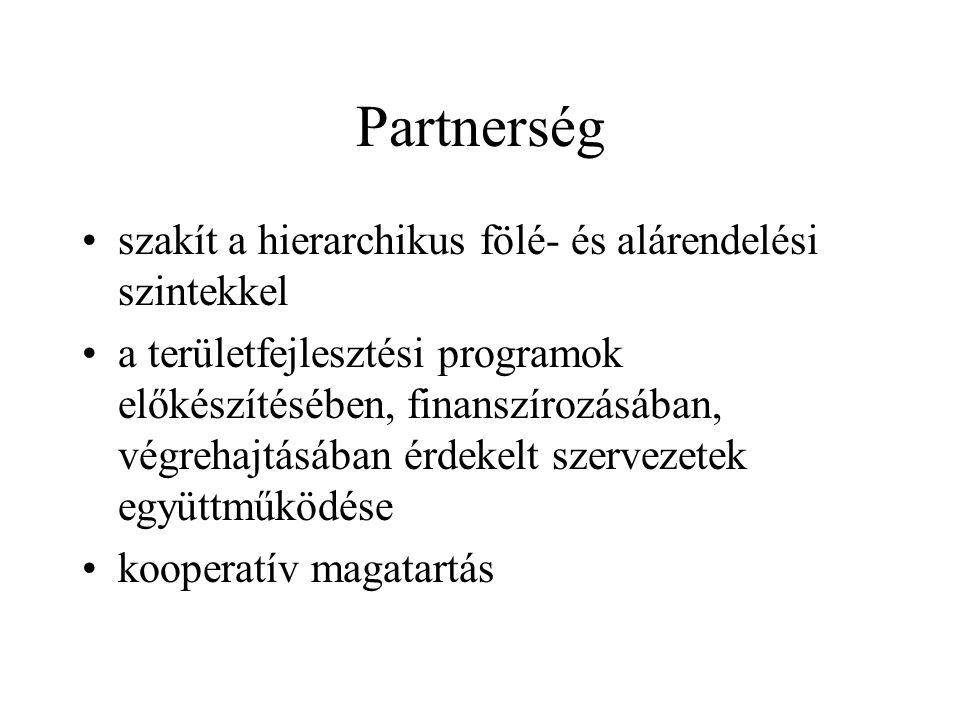 Partnerség szakít a hierarchikus fölé- és alárendelési szintekkel a területfejlesztési programok előkészítésében, finanszírozásában, végrehajtásában érdekelt szervezetek együttműködése kooperatív magatartás