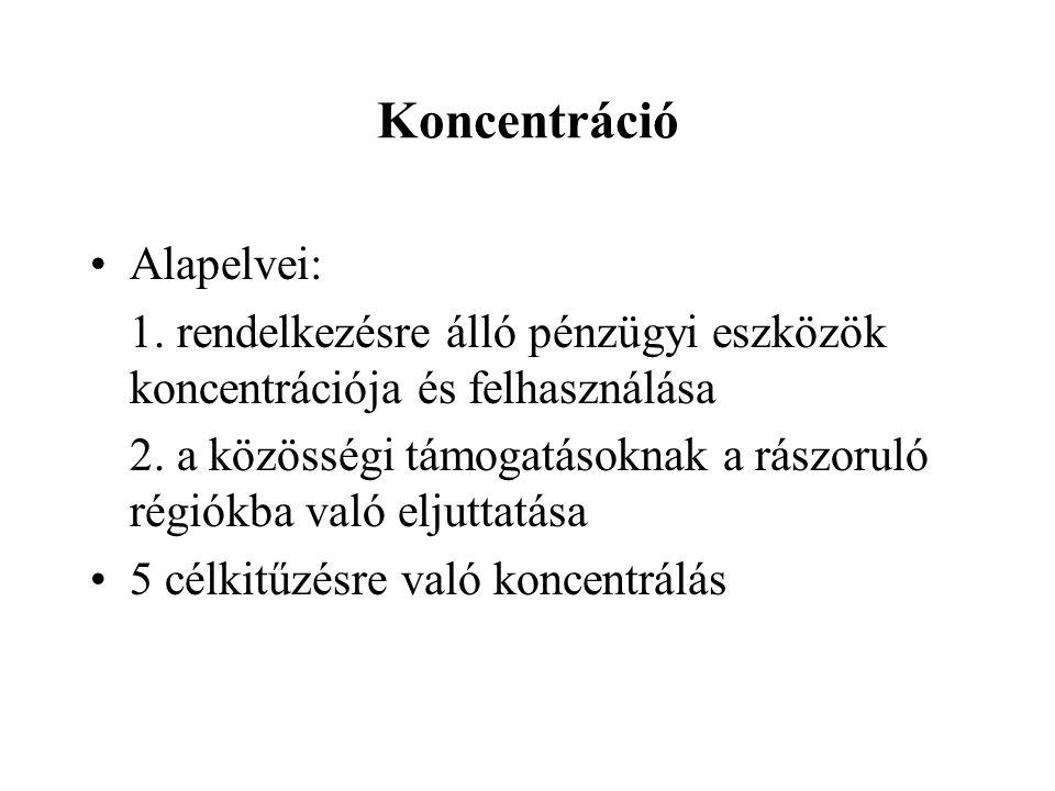 Koncentráció Alapelvei: 1. rendelkezésre álló pénzügyi eszközök koncentrációja és felhasználása 2.