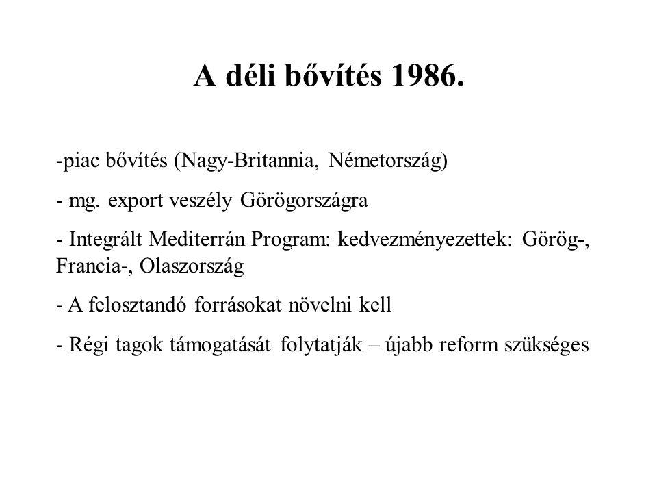 A déli bővítés 1986. -piac bővítés (Nagy-Britannia, Németország) - mg.