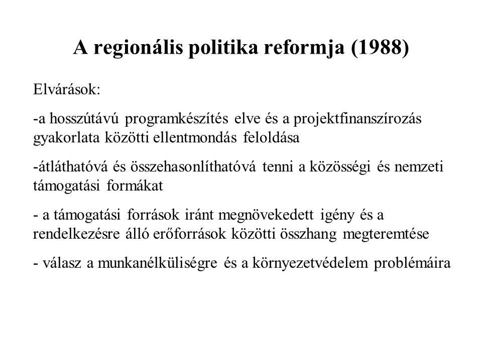 A regionális politika reformja (1988) Elvárások: -a hosszútávú programkészítés elve és a projektfinanszírozás gyakorlata közötti ellentmondás feloldása -átláthatóvá és összehasonlíthatóvá tenni a közösségi és nemzeti támogatási formákat - a támogatási források iránt megnövekedett igény és a rendelkezésre álló erőforrások közötti összhang megteremtése - válasz a munkanélküliségre és a környezetvédelem problémáira