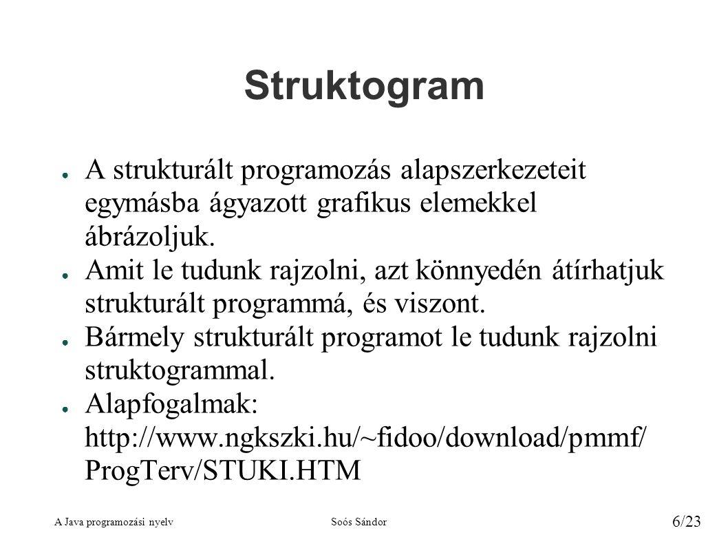 A Java programozási nyelvSoós Sándor 6/23 Struktogram ● A strukturált programozás alapszerkezeteit egymásba ágyazott grafikus elemekkel ábrázoljuk. ●