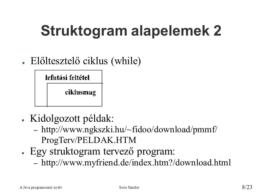 A Java programozási nyelvSoós Sándor 8/23 Struktogram alapelemek 2 ● Előltesztelő ciklus (while) ● Kidolgozott példak: – http://www.ngkszki.hu/~fidoo/