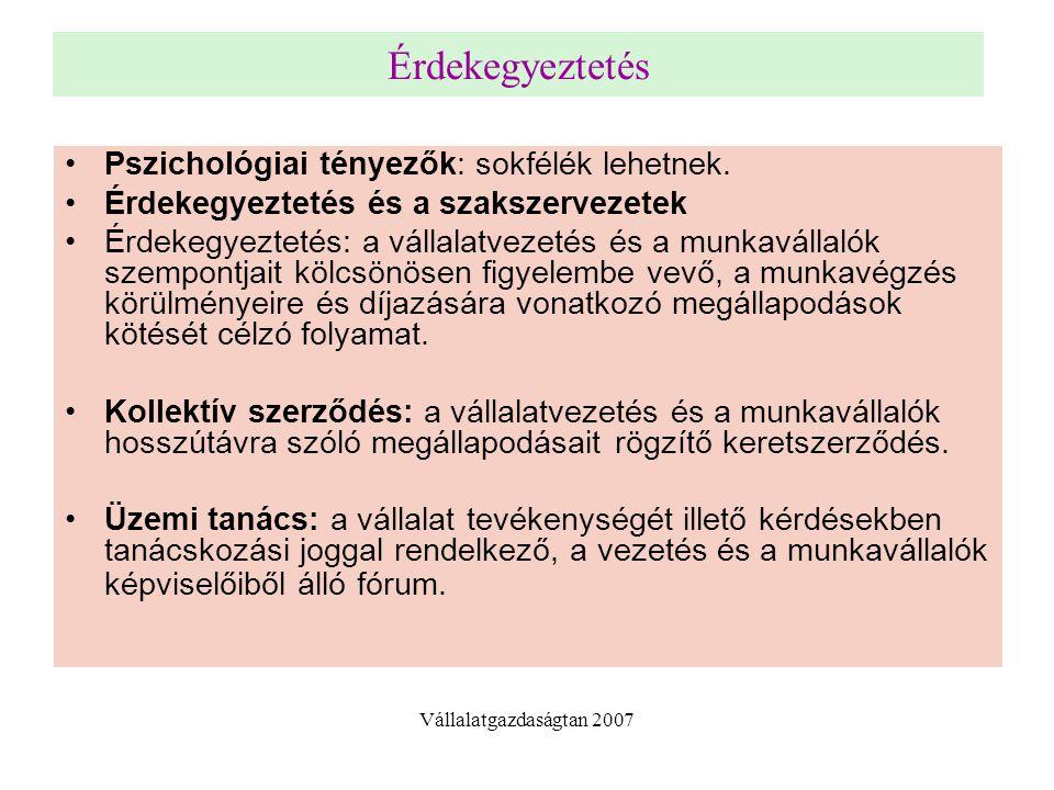 Érdekegyeztetés Pszichológiai tényezők: sokfélék lehetnek. Érdekegyeztetés és a szakszervezetek Érdekegyeztetés: a vállalatvezetés és a munkavállalók