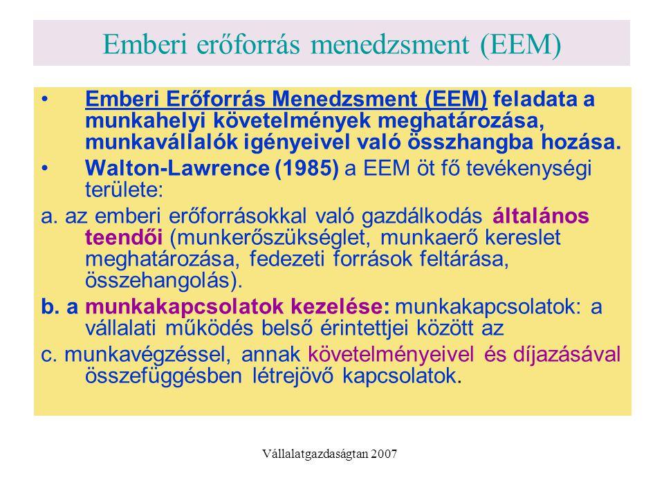 Emberi erőforrás menedzsment (EEM) Emberi Erőforrás Menedzsment (EEM) feladata a munkahelyi követelmények meghatározása, munkavállalók igényeivel való