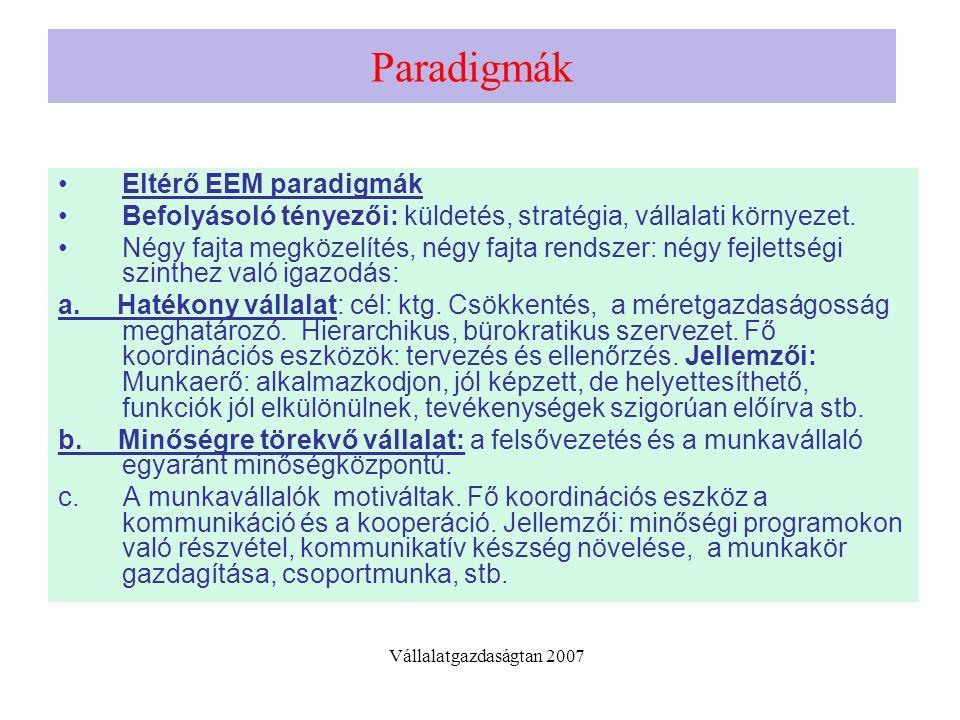 Paradigmák Eltérő EEM paradigmák Befolyásoló tényezői: küldetés, stratégia, vállalati környezet. Négy fajta megközelítés, négy fajta rendszer: négy fe