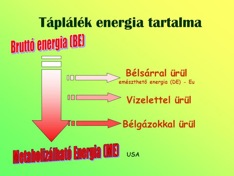 Táplálék energia tartalma Bélsárral ürül emészthető energia (DE) - Eu Vizelettel ürül Bélgázokkal ürül USA