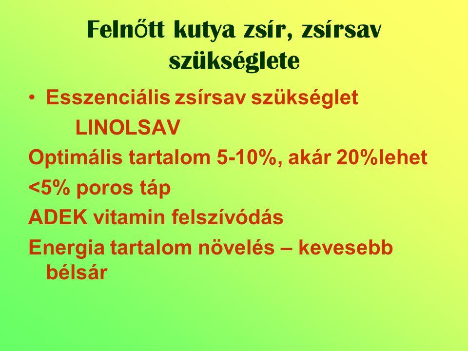 Esszenciális zsírsav szükséglet LINOLSAV Optimális tartalom 5-10%, akár 20%lehet <5% poros táp ADEK vitamin felszívódás Energia tartalom növelés – kev