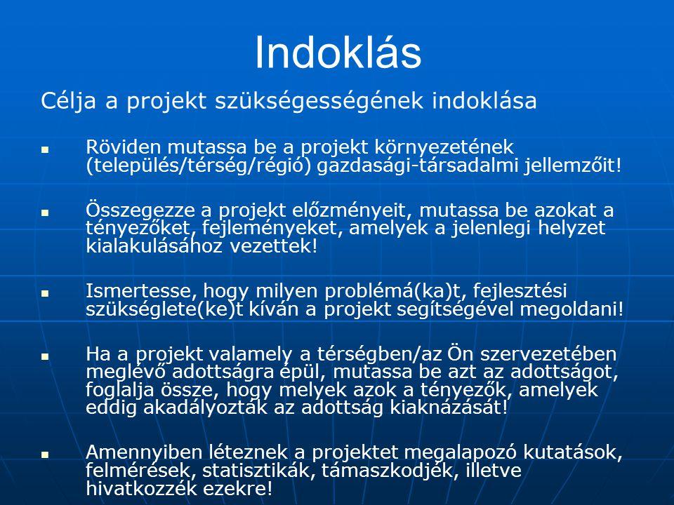 Indoklás Célja a projekt szükségességének indoklása Röviden mutassa be a projekt környezetének (település/térség/régió) gazdasági-társadalmi jellemzői