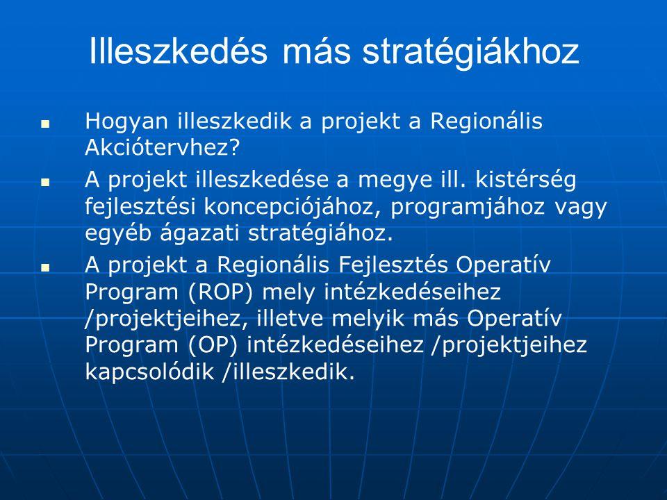 Illeszkedés más stratégiákhoz Hogyan illeszkedik a projekt a Regionális Akciótervhez? A projekt illeszkedése a megye ill. kistérség fejlesztési koncep