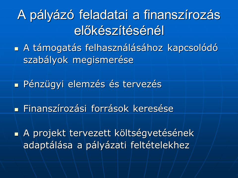 A pályázó feladatai a finanszírozás előkészítésénél A támogatás felhasználásához kapcsolódó A támogatás felhasználásához kapcsolódó szabályok megismer