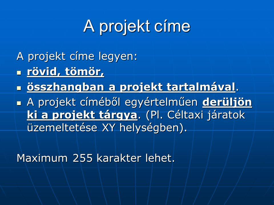 A projekt címe A projekt címe legyen: rövid, tömör, rövid, tömör, összhangban a projekt tartalmával. összhangban a projekt tartalmával. A projekt címé