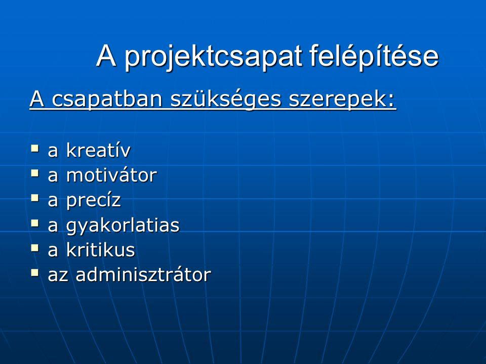 A projektcsapat felépítése A csapatban szükséges szerepek:  a kreatív  a motivátor  a precíz  a gyakorlatias  a kritikus  az adminisztrátor