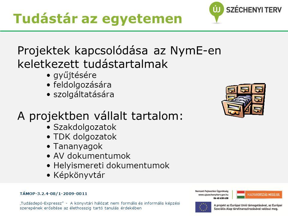 """TÁMOP-3.2.4-08/1-2009-0011 """" Tudásdepó-Expressz"""" - A könyvtári hálózat nem formális és informális képzési szerepének erősítése az élethosszig tartó ta"""