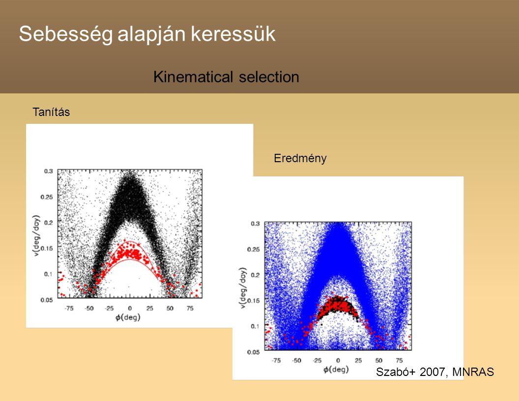 Sebesség alapján keressük Tanítás Eredmény Kinematical selection Szabó+ 2007, MNRAS