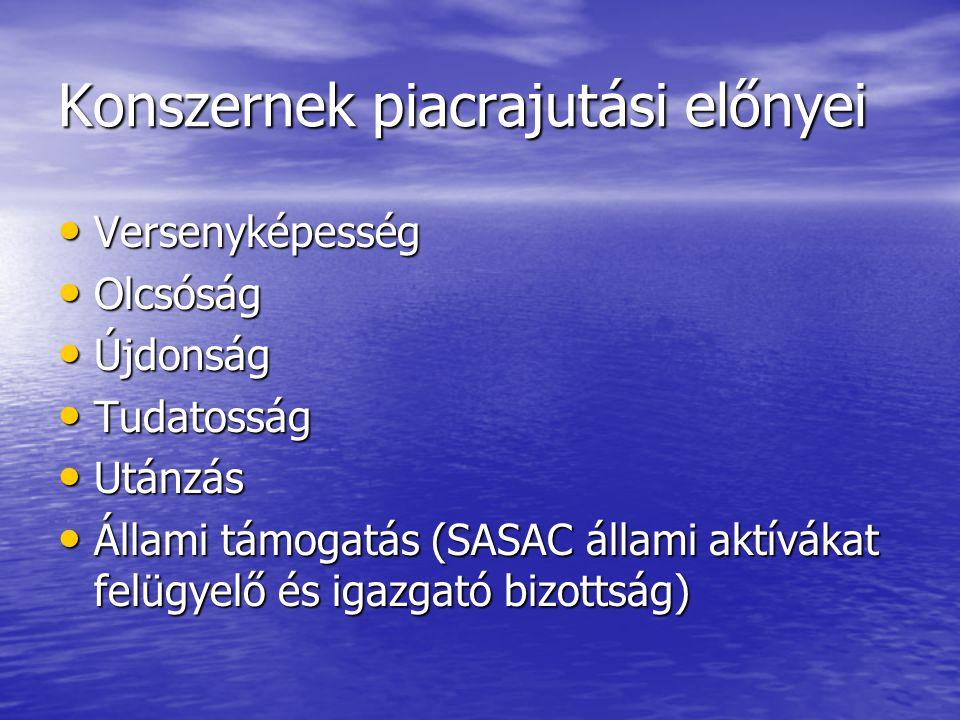 Konszernek piacrajutási előnyei Versenyképesség Versenyképesség Olcsóság Olcsóság Újdonság Újdonság Tudatosság Tudatosság Utánzás Utánzás Állami támogatás (SASAC állami aktívákat felügyelő és igazgató bizottság) Állami támogatás (SASAC állami aktívákat felügyelő és igazgató bizottság)