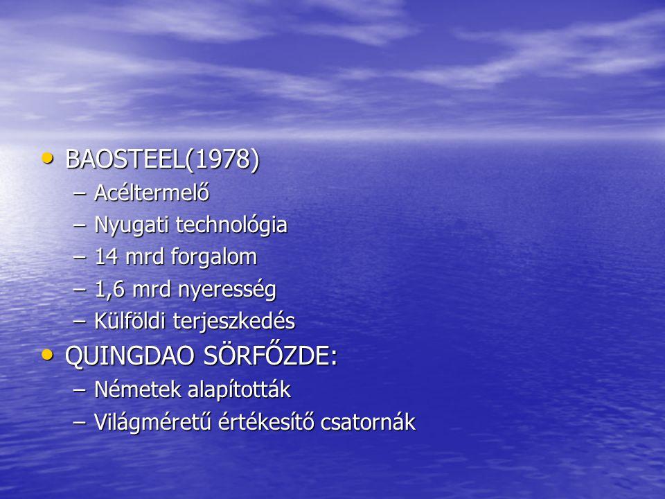 BAOSTEEL(1978) BAOSTEEL(1978) –Acéltermelő –Nyugati technológia –14 mrd forgalom –1,6 mrd nyeresség –Külföldi terjeszkedés QUINGDAO SÖRFŐZDE: QUINGDAO SÖRFŐZDE: –Németek alapították –Világméretű értékesítő csatornák