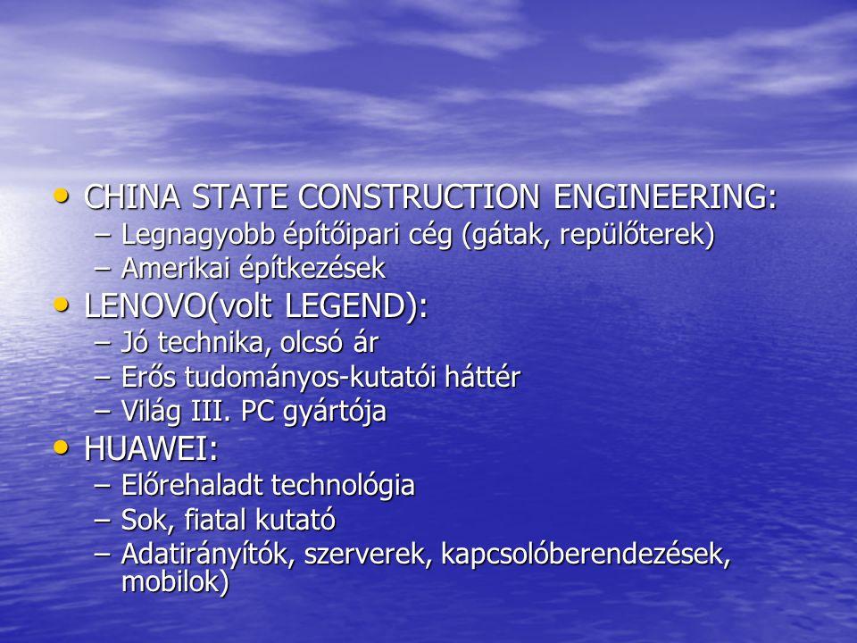CHINA STATE CONSTRUCTION ENGINEERING: CHINA STATE CONSTRUCTION ENGINEERING: –Legnagyobb építőipari cég (gátak, repülőterek) –Amerikai építkezések LENOVO(volt LEGEND): LENOVO(volt LEGEND): –Jó technika, olcsó ár –Erős tudományos-kutatói háttér –Világ III.